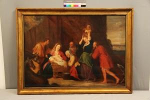 """""""Heilige Familie/ Anbetung des Kindes"""", vermutlich niederländisch, 17. Jh."""