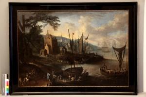 """""""Uferlandschaft"""", vermutlich niederländisch, um 1700"""