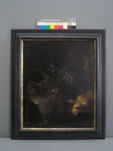 """""""Stillleben mit Krug, Vögeln und Zitrone"""", Künstler: unbekannt, 18. Jh.- darunter liegendes Bild: """"Portrait eines Kindes"""""""